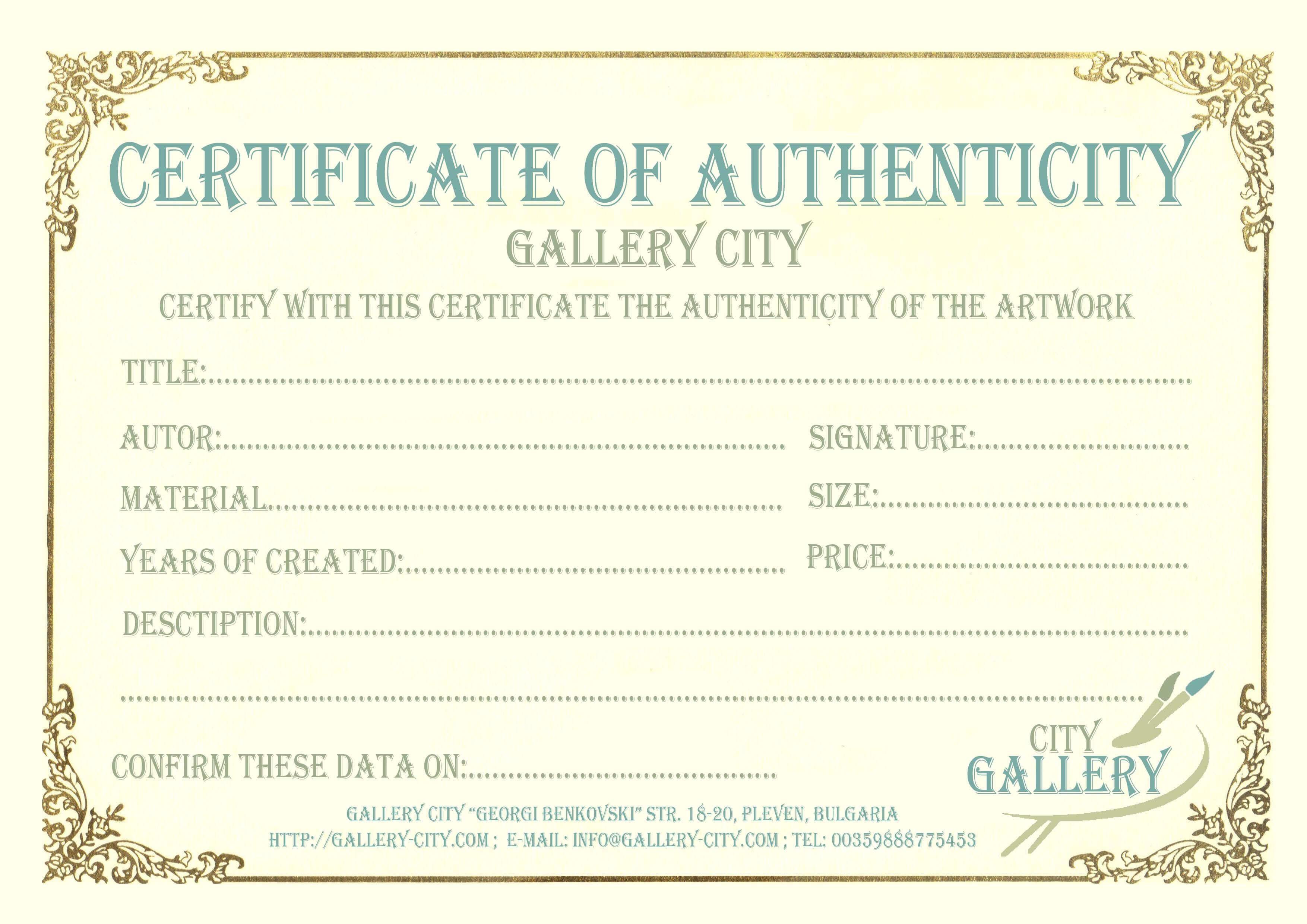 Certificate Authenticity Template Art Authenticity Pertaining To Art Certificate Template Free