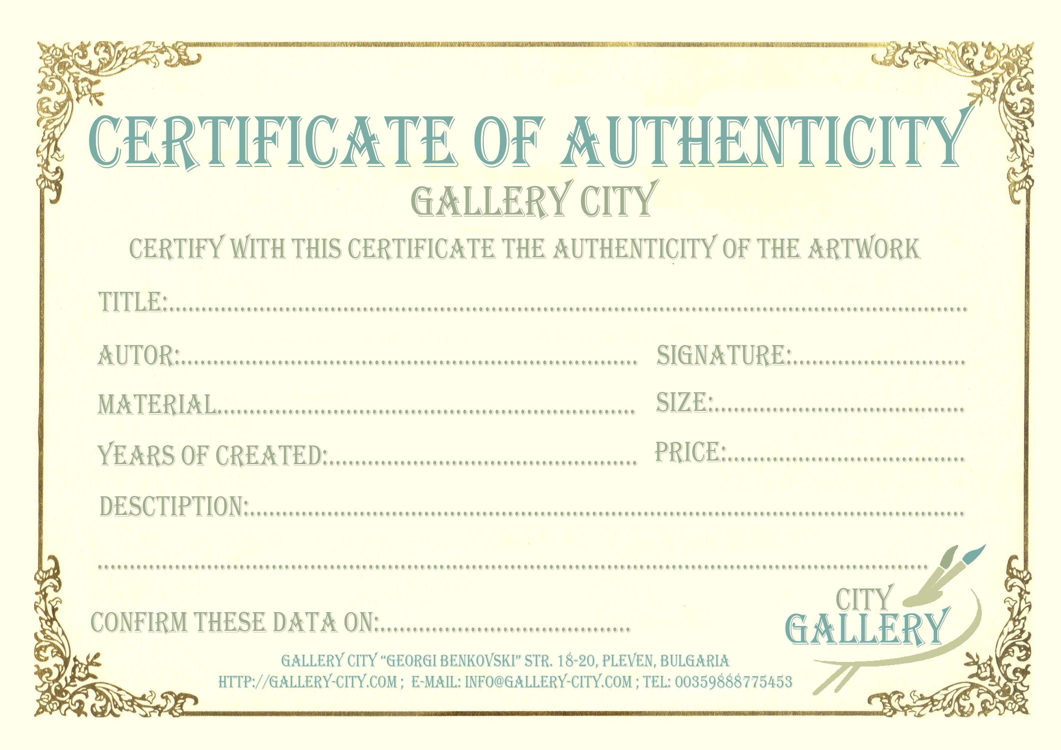 Certificate Authenticity Template Art Authenticity With Certificate Of Authenticity Template