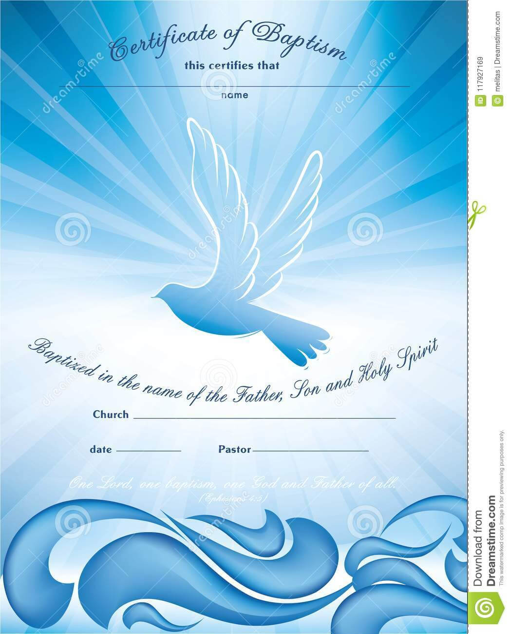 Certificate Baptism Template. With Waves Of Water And Dove regarding Christian Baptism Certificate Template