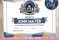 Certificate Billiard , Certificate, Billiard , Billiard regarding Gymnastics Certificate Template
