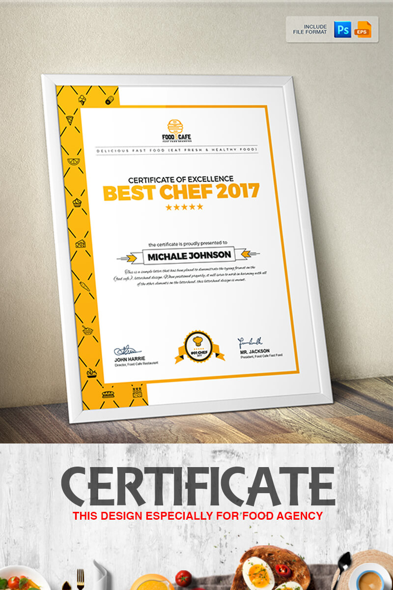 Certificate Design Template For Best Chef Fast Food And Restaurant  Certificate Template with Design A Certificate Template
