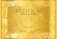 Certificate, Diploma (Golden Design Template, Colorful Background).. inside Certificate Scroll Template