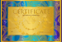 Certificate, Diploma (Golden Design Template, Colorful Background).. throughout Certificate Scroll Template