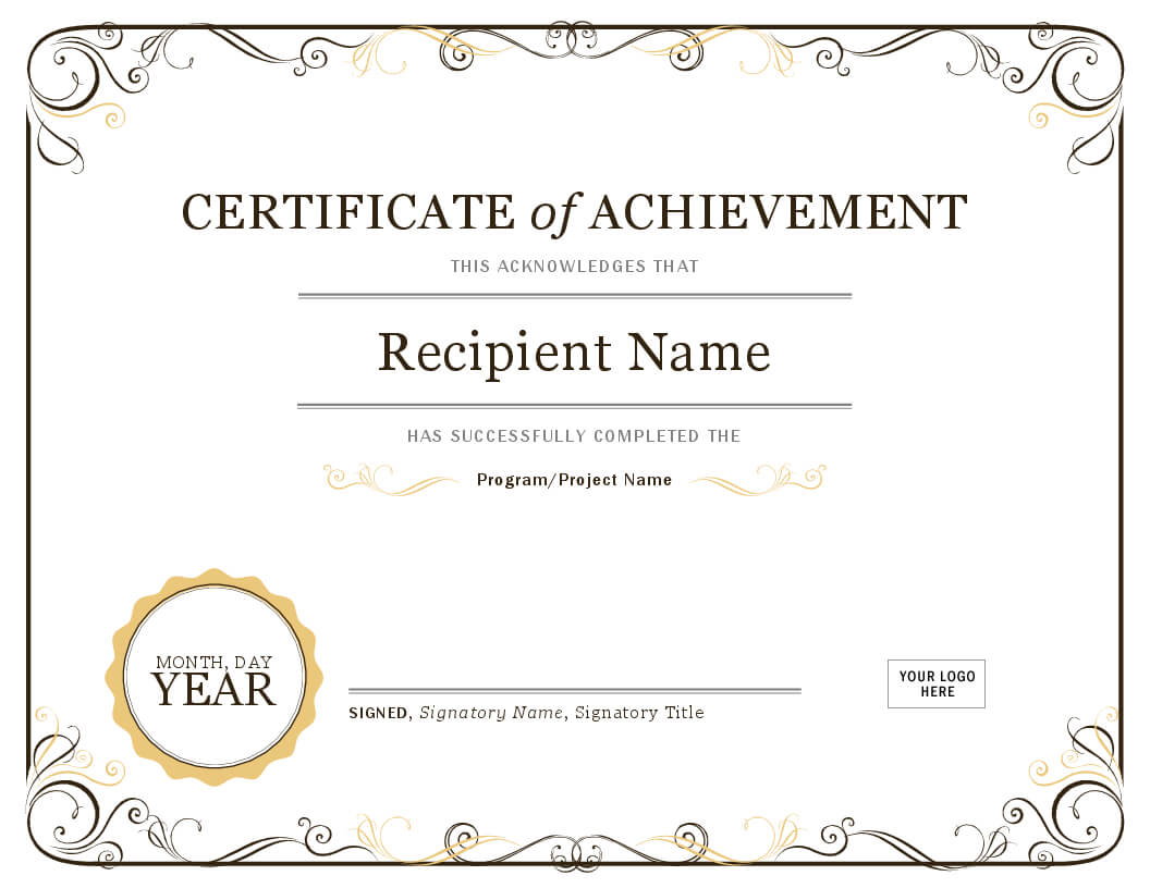 Certificate Of Achievement Inside Word Template Certificate Of Achievement
