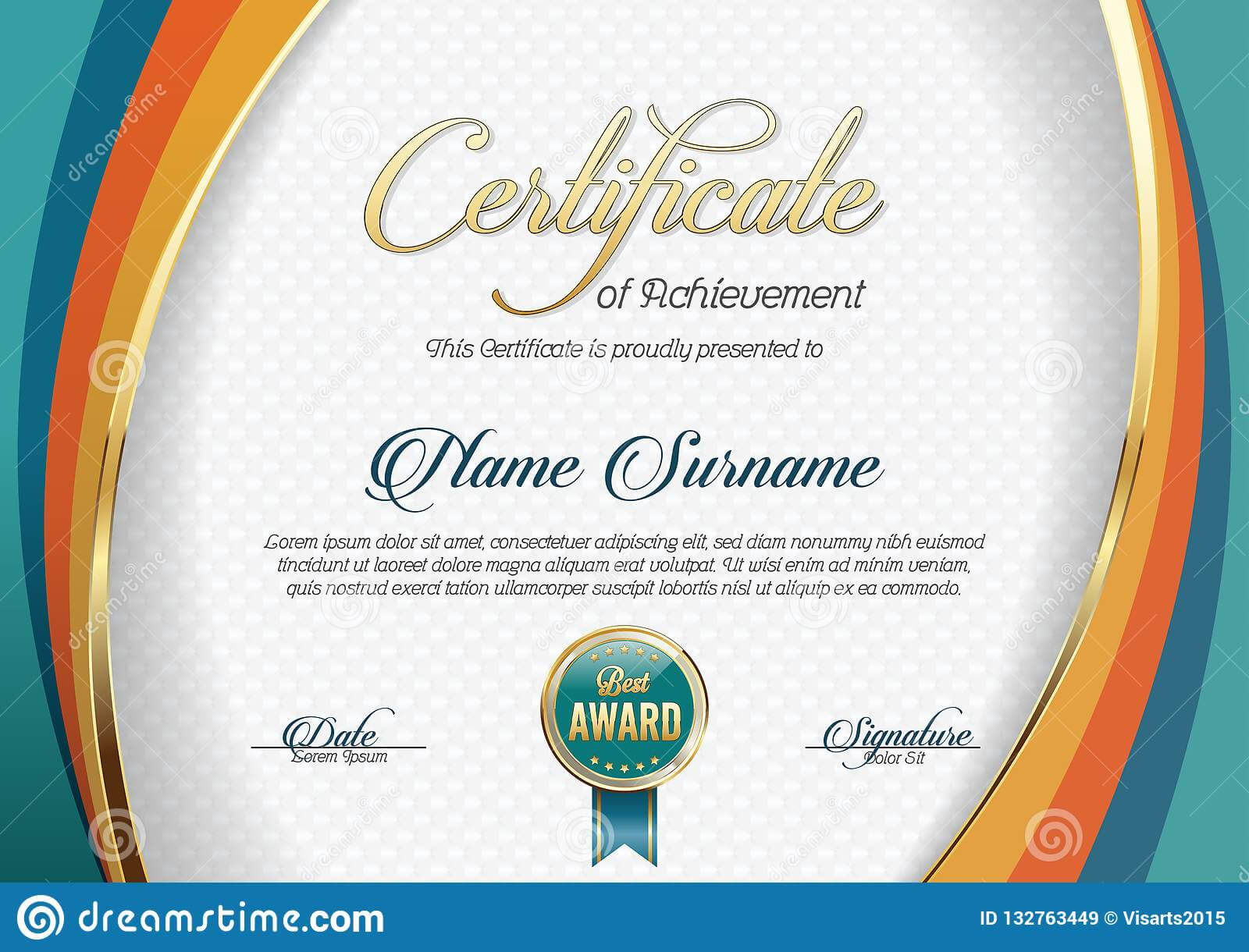 Certificate Of Achievement. Landscape. Template. Stock with regard to Landscape Certificate Templates