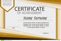 Certificate Of Achievement Template. Horizontal. Stock inside Certificate Of Attainment Template