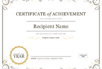Certificate Of Achievement Within Template For Certificate Of Award