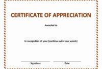 Certificate Of Appreciation In Certificate Appreciation inside Template For Certificate Of Appreciation In Microsoft Word