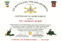 Certificate Of Appreciation Template Us Army pertaining to Army Certificate Of Achievement Template
