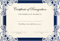 Certificate Of Appreciation Template Word Doc for Certificate Of Excellence Template Word