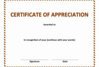 Certificate Of Appreciation Template Word Free Download regarding Certificate Of Excellence Template Word