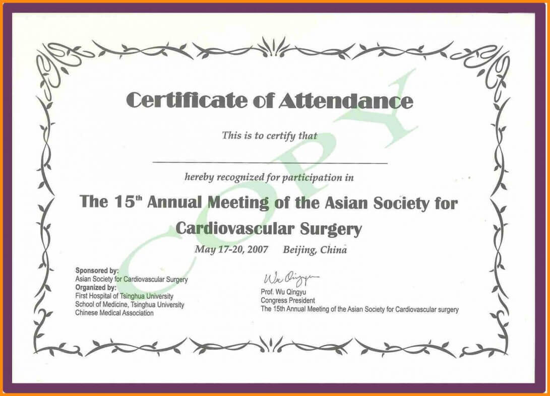 Certificate Of Attendance Sample Text Seminar Template Word with regard to Conference Certificate Of Attendance Template