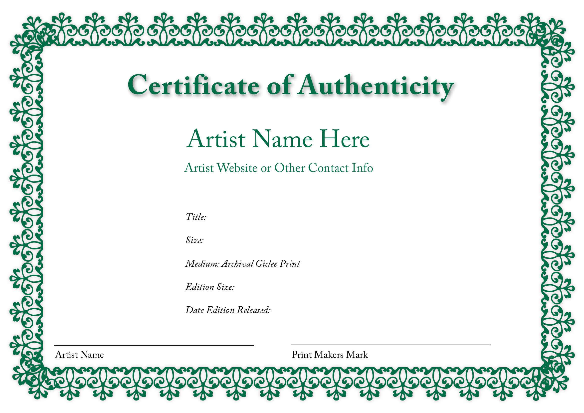 Certificate Of Authenticity Of An Art Print In 2019 | Art in Certificate Of Authenticity Template