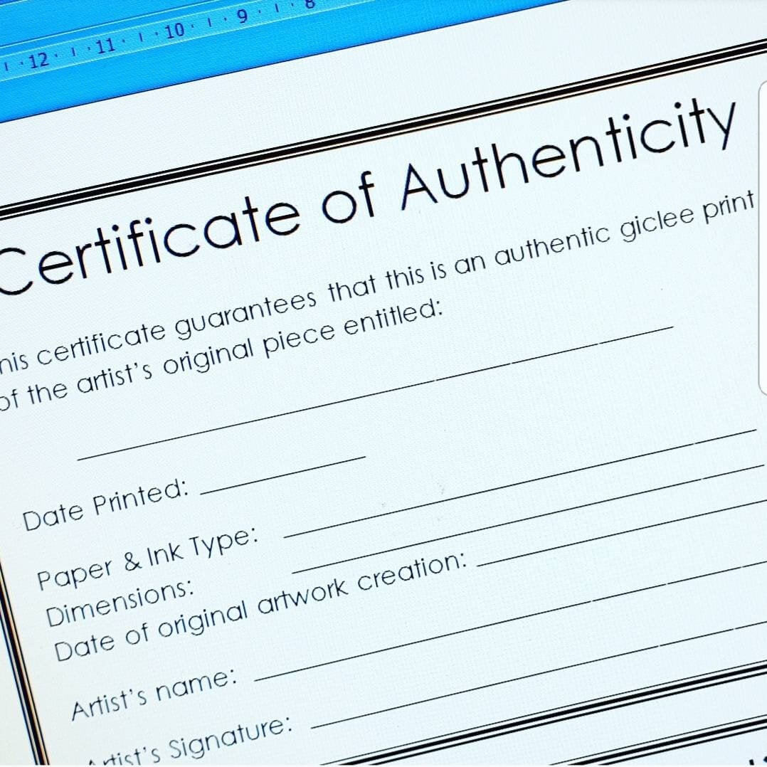 Certificate Of Authenticity Template For Artists For Giclee Fine Art  Prints, Open Edition. 4 On A4 Size (Plus 'letter' Size For Usa Artists) within Certificate Of Authenticity Template