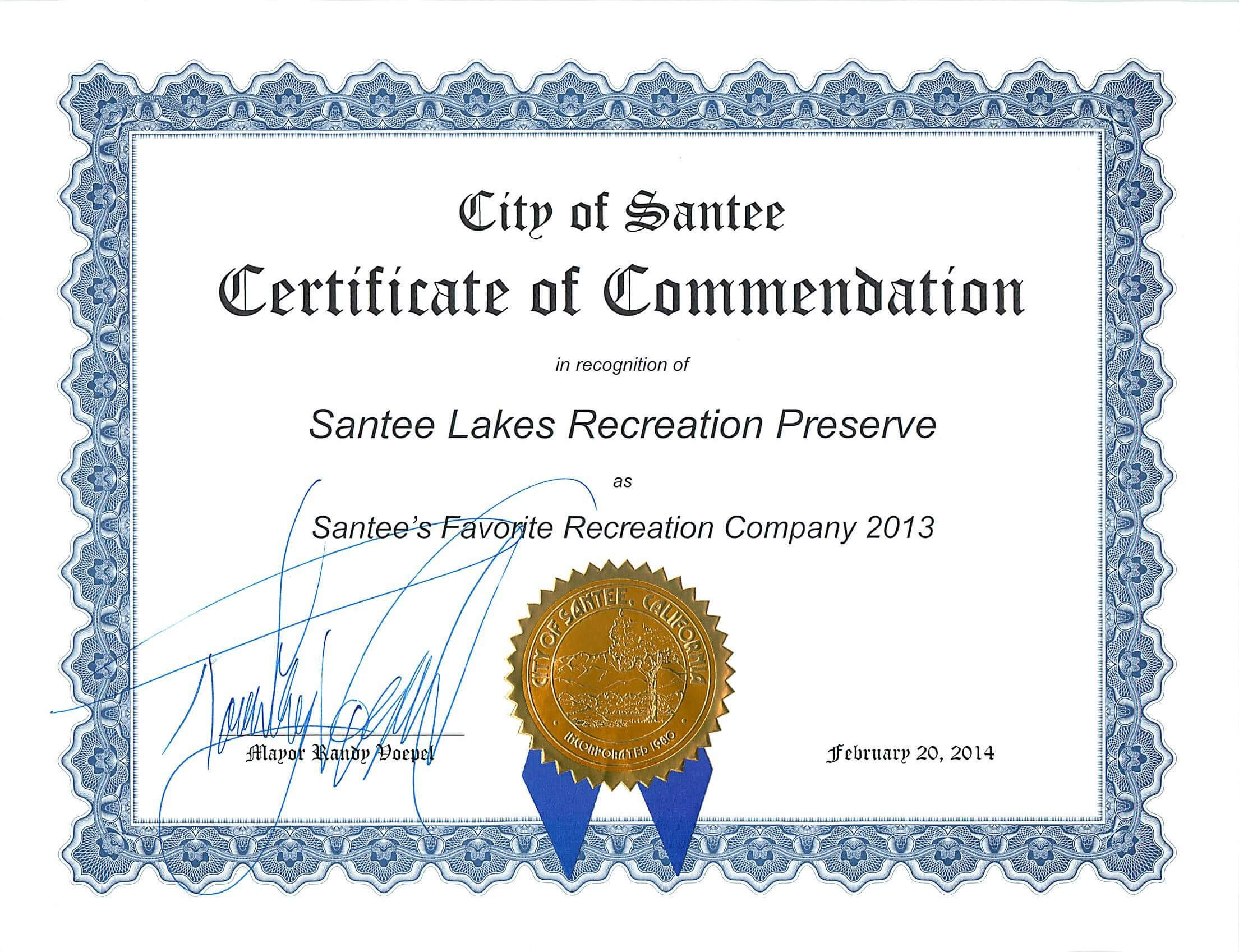 Certificate Of Commendation From The City Of Santee throughout Validation Certificate Template