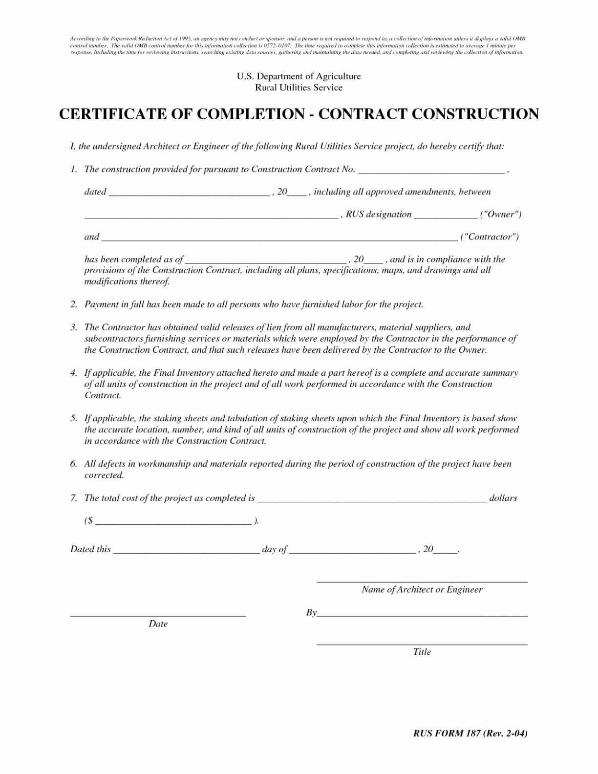 Certificate Of Completion Construction Sample Cool Letter pertaining to Certificate Of Substantial Completion Template