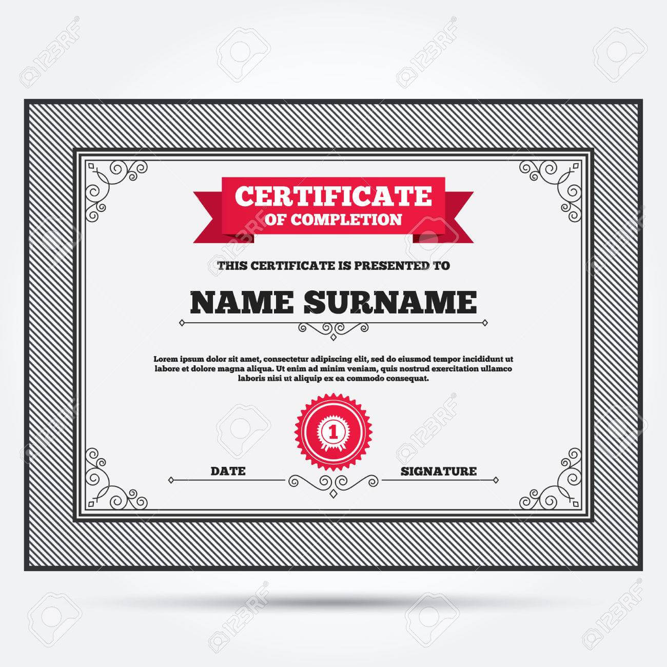 Certificate Of Completion. First Place Award Sign Icon. Prize.. in First Place Award Certificate Template
