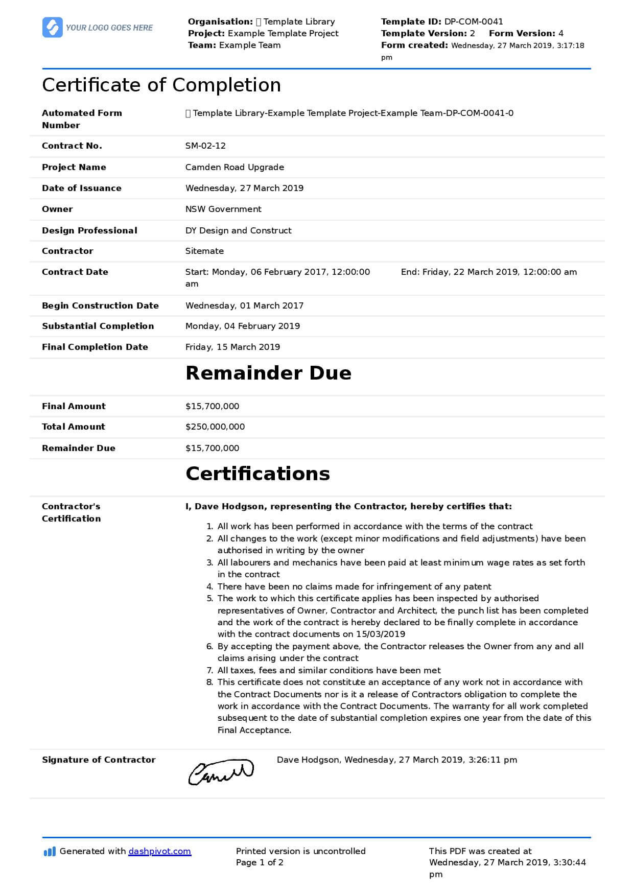 Certificate Of Completion For Construction (Free Template + Throughout Certificate Of Completion Construction Templates