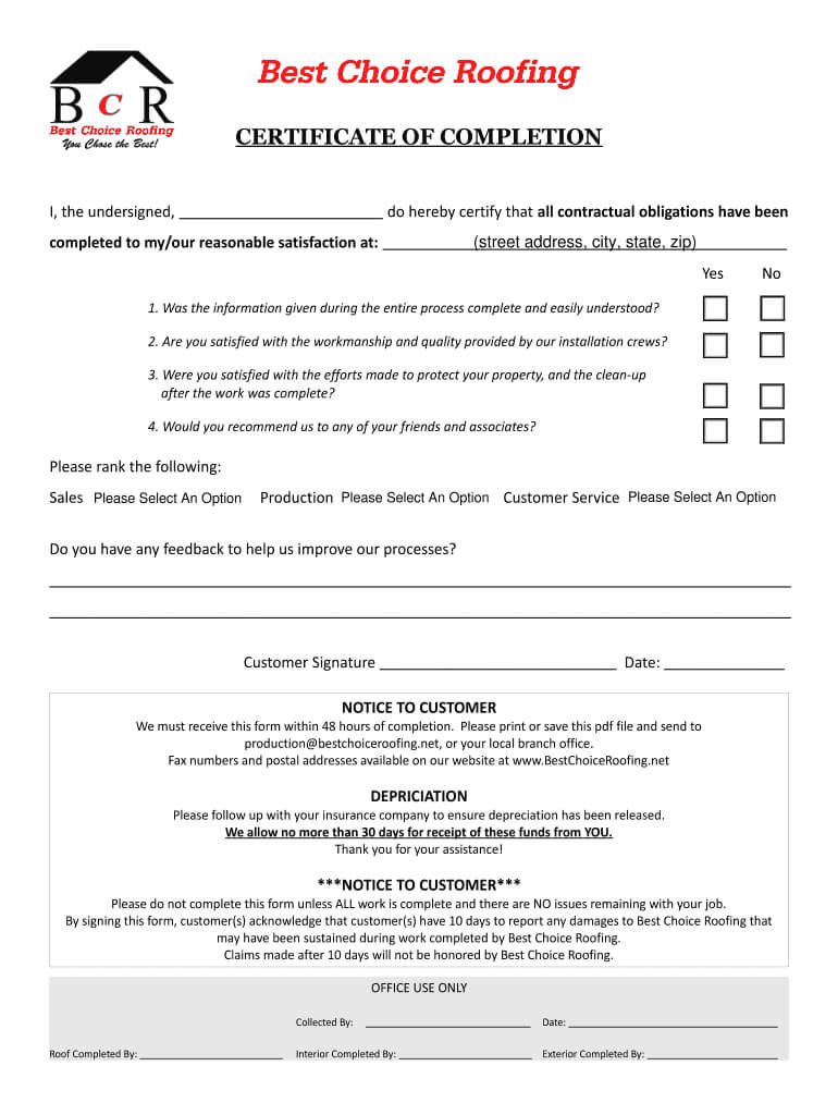 Certificate Of Completion For Roofing Job - Fill Online throughout Roof Certification Template