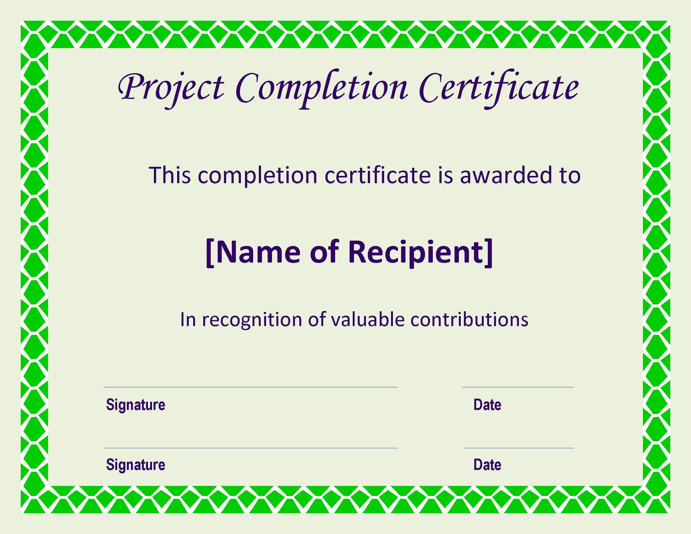 Certificate Of Completion Project | Templates At intended for Certificate Template For Project Completion