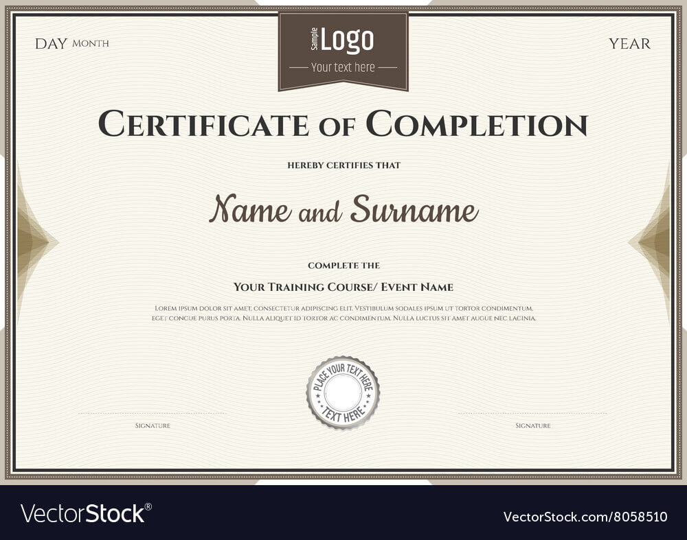 Certificate Of Completion Template In Brown Inside Certification Of Completion Template