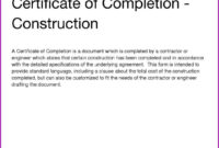 Certificate Of Completion Template New Pletion It Project for Certificate Of Completion Template Construction