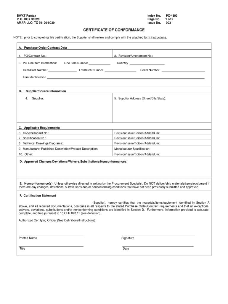 Certificate Of Conformance Template - Fill Online, Printable in Certificate Of Manufacture Template