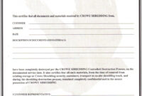 Certificate Of Data Destruction Template   Emetonlineblog in Destruction Certificate Template