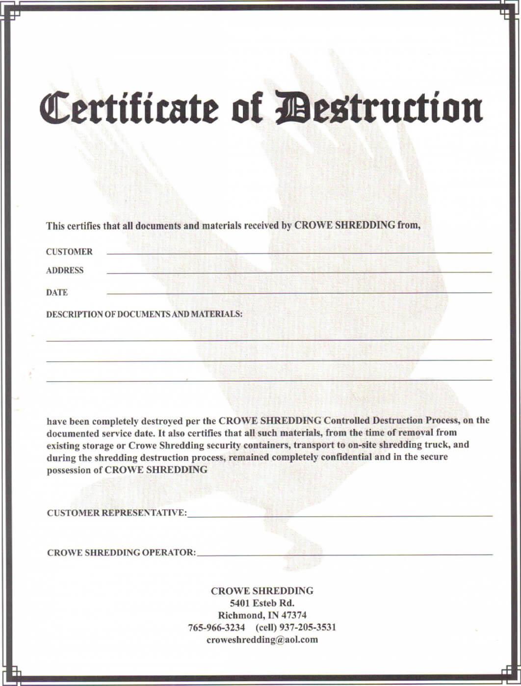 Certificate Of Data Destruction Template | Emetonlineblog In Free Certificate Of Destruction Template