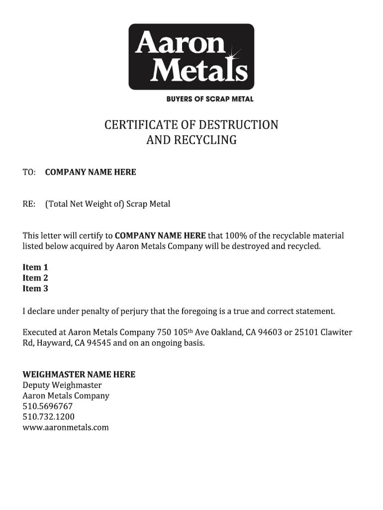 Certificate Of Destruction Template - Fill Online, Printable within Free Certificate Of Destruction Template