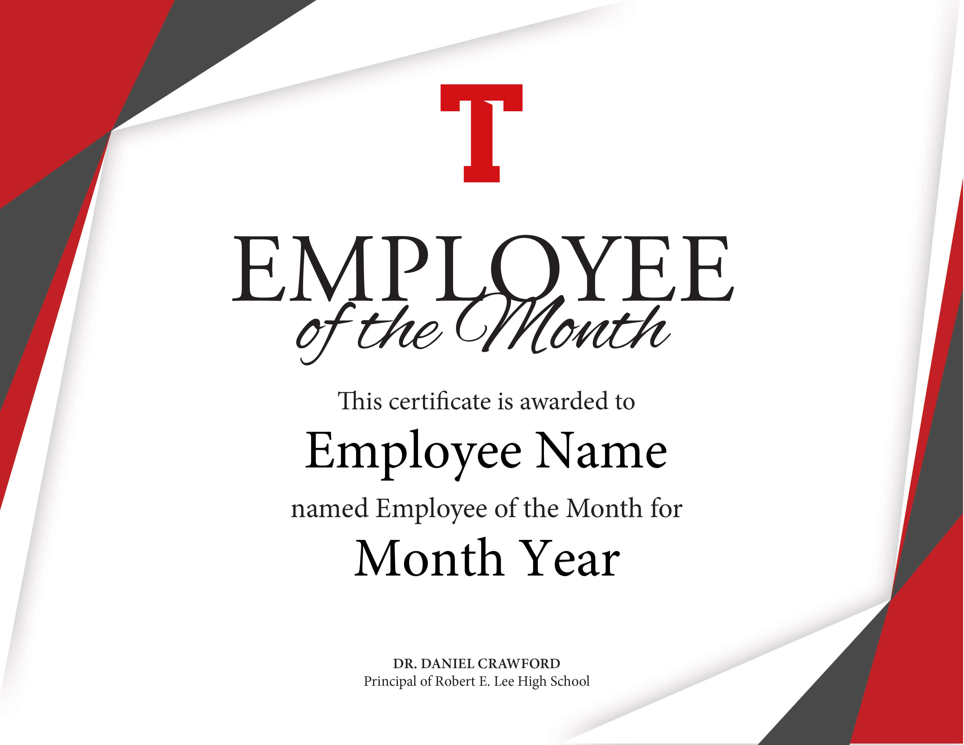 Certificate Of Employee The Month Template Brochure for Employee Of The Month Certificate Templates