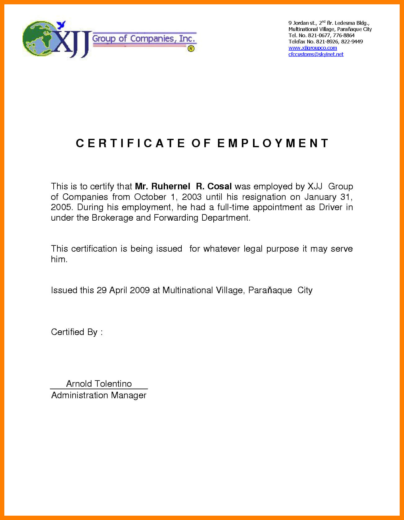 Certificate Of Employment Sample | Certificates Templates Free with regard to Template Of Certificate Of Employment