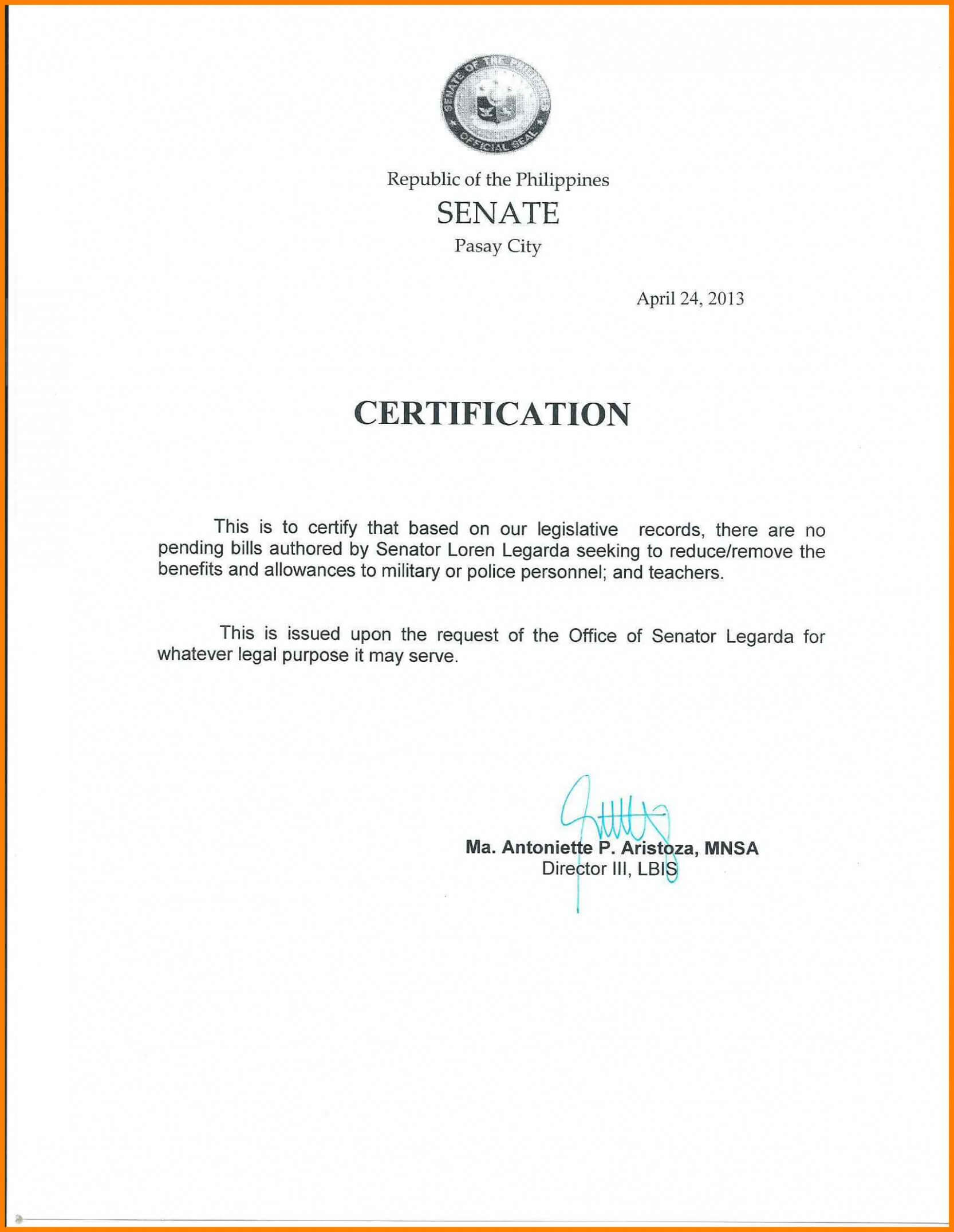 Certificate Of Employment Template Sample With Salary pertaining to Template Of Certificate Of Employment