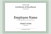 Certificate Of Excellence For Employee | Certificate in Best Performance Certificate Template