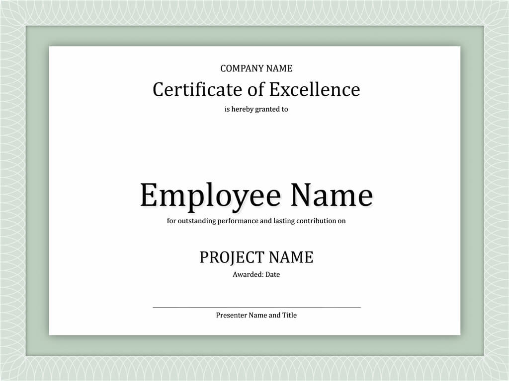 Certificate Of Excellence For Employee | Certificate Inside Workstation Authentication Certificate Template