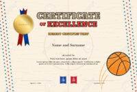 Certificate Of Excellence Template In Sport Theme For Basketball.. in Basketball Camp Certificate Template