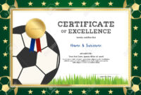 Certificate Of Excellence Template In Sport Theme For Football.. Inside Football Certificate Template