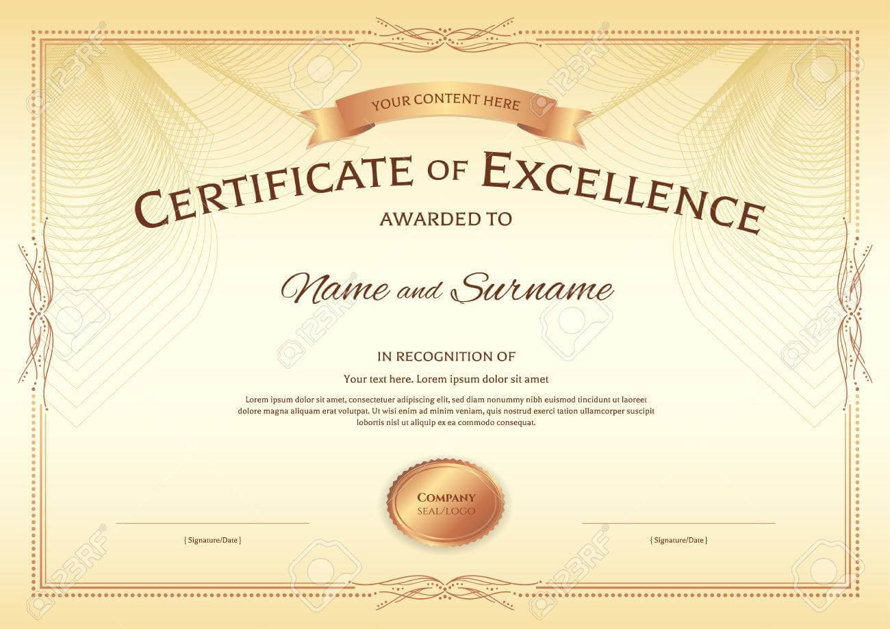 Certificate Of Excellence Template With Award Ribbon On Abstract.. for Award Of Excellence Certificate Template