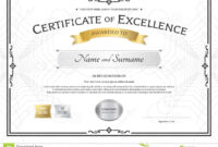 Certificate Of Excellence Template With Gold Award Ribbon On for Award Of Excellence Certificate Template