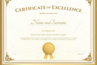 Certificate Of Excellence Template With Gold Border Stock throughout Free Certificate Of Excellence Template