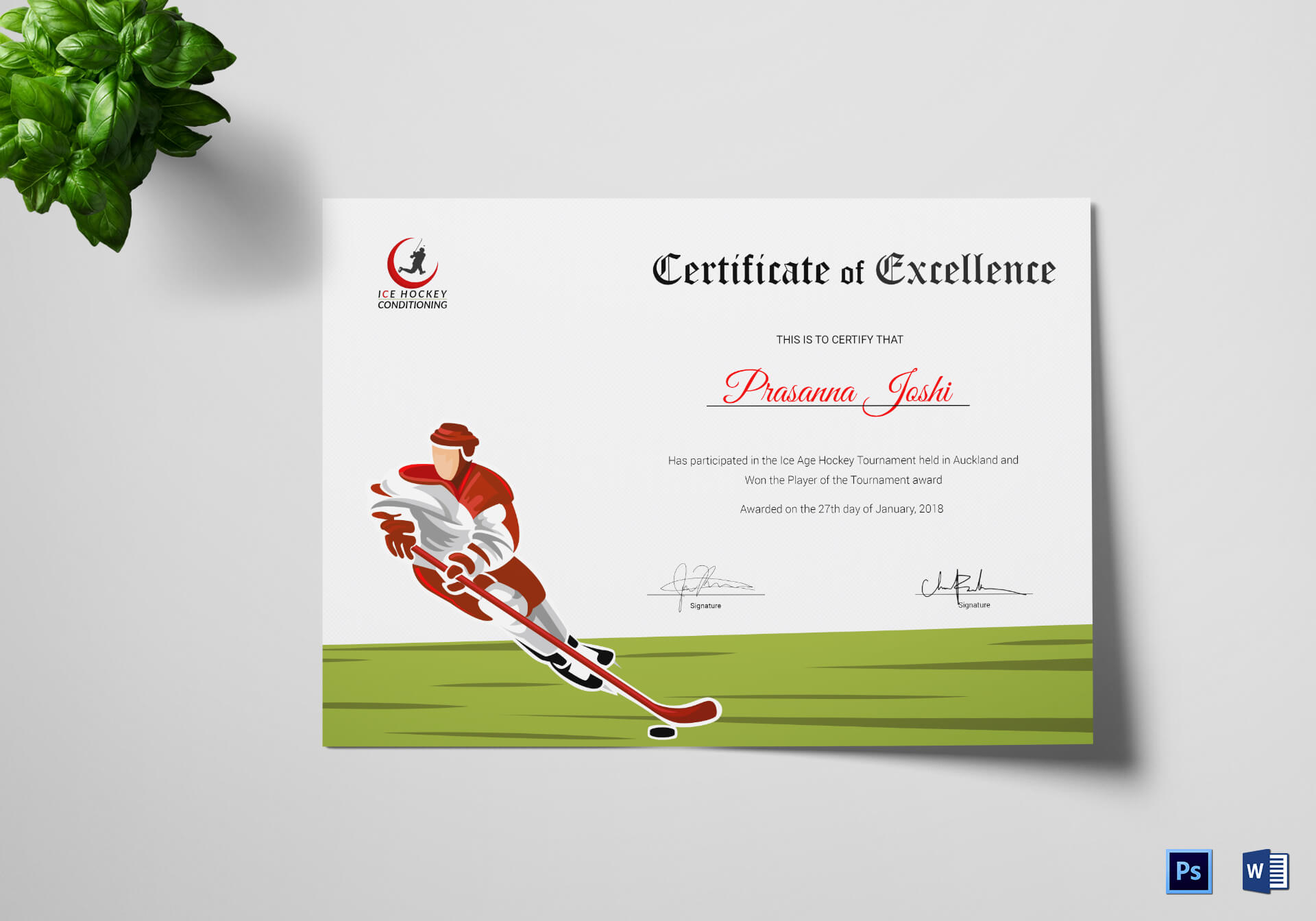 Certificate Of Hockey Performance Template Regarding Hockey Certificate Templates