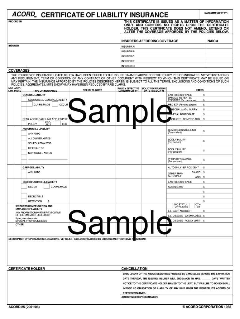 Certificate Of Insurance Template - Fill Online, Printable in Certificate Of Insurance Template