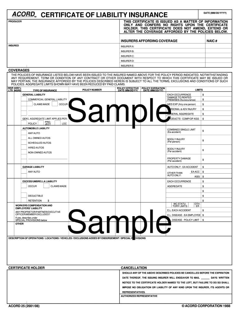 Certificate Of Insurance Template - Fill Online, Printable Intended For Certificate Of Liability Insurance Template