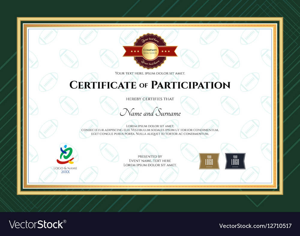 Certificate Of Participation Template In Sport The with regard to Templates For Certificates Of Participation