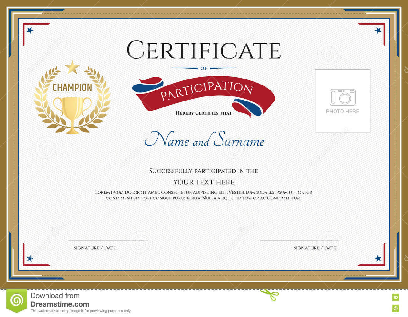 Certificate Of Participation Template In Sport Theme Stock intended for Templates For Certificates Of Participation