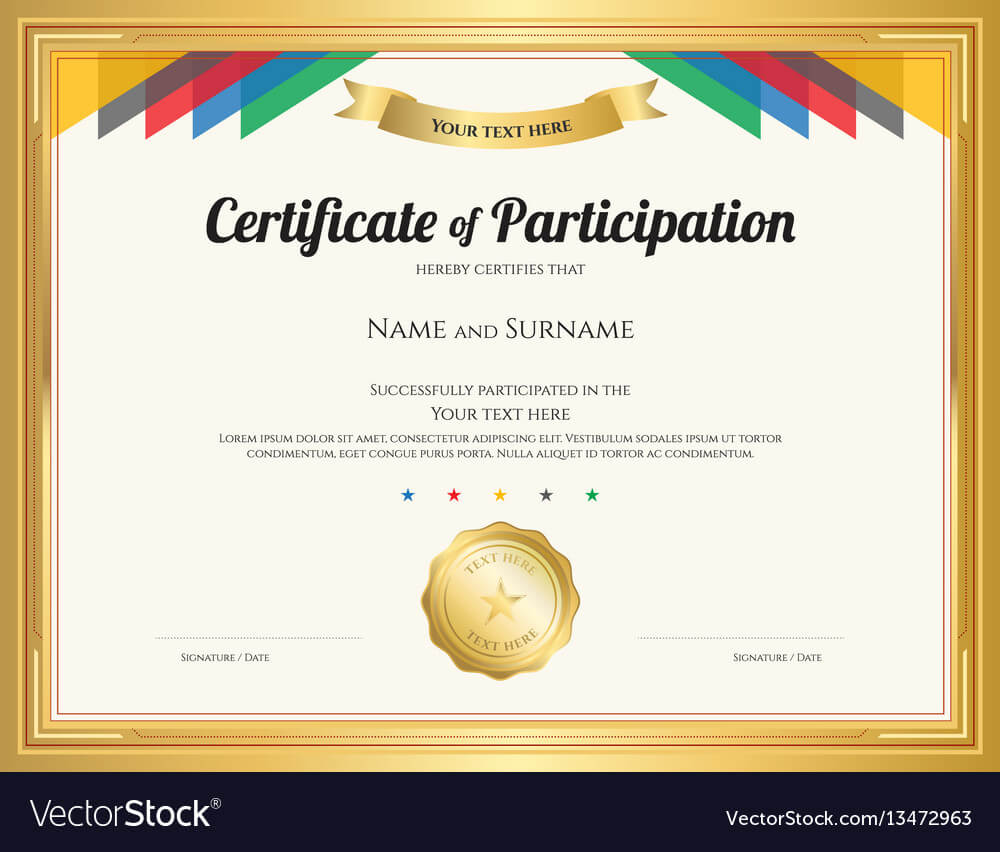Certificate Of Participation Template With Gold For Templates For Certificates Of Participation