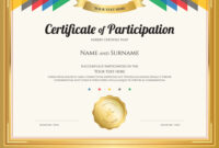 Certificate Of Participation Template With Gold with regard to Sample Certificate Of Participation Template