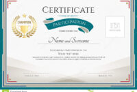 Certificate Of Participation Template With Green Broder pertaining to Certification Of Participation Free Template