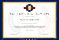 Certificate Of Participation Template With Laurel Background.. intended for Certification Of Participation Free Template