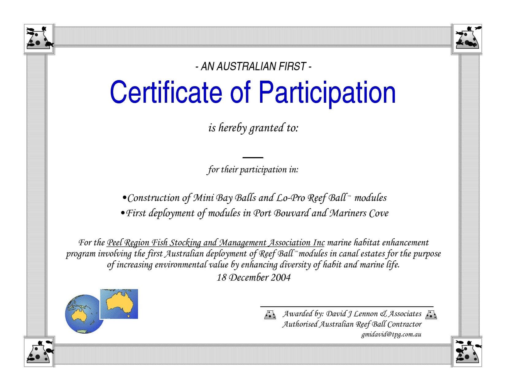 Certificate Of Participation Word Template For Certificate Of Participation Template Word